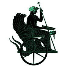 Ancient Greek Hero Triptolemus Sitting In A Winged Dragon Snake Chariot. Black And Green Silhouette. Eleusinian Mysteries.