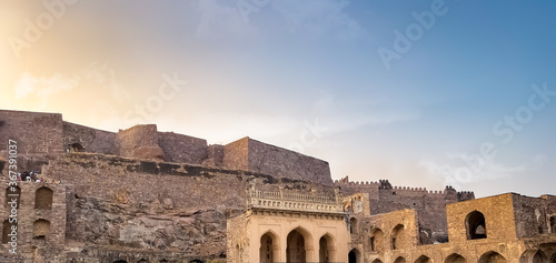 Hyderabad, India - 25 December 2019 at 5:10:26 PM: wide view of Golconda fort at Canvas Print