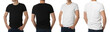 Men in t-shirts on white background, closeup with back and front view. Mockup for design