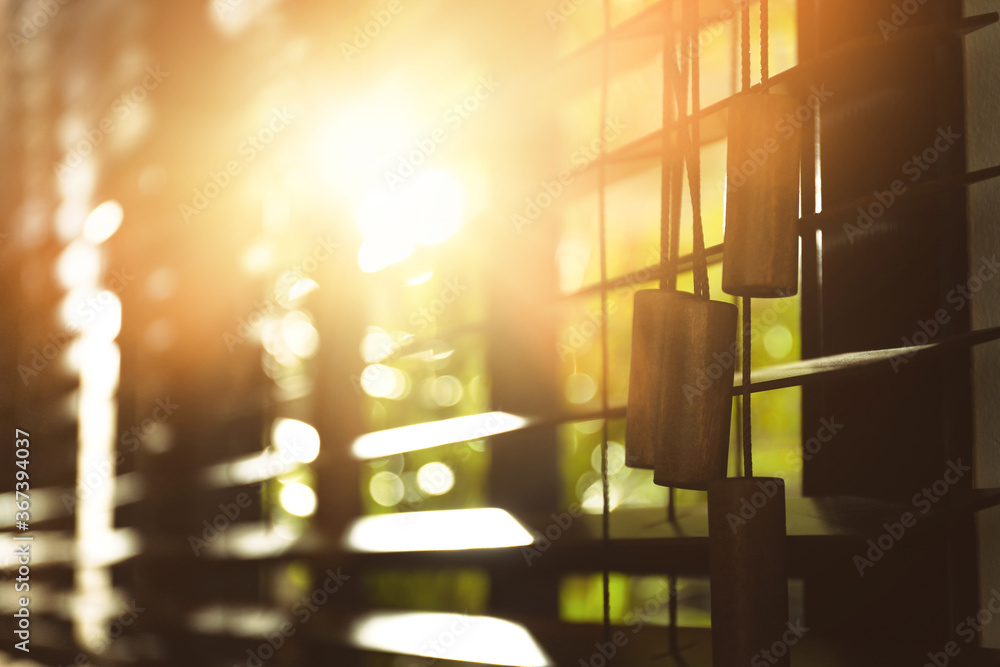 Fototapeta Window with blinds on sunny day, closeup
