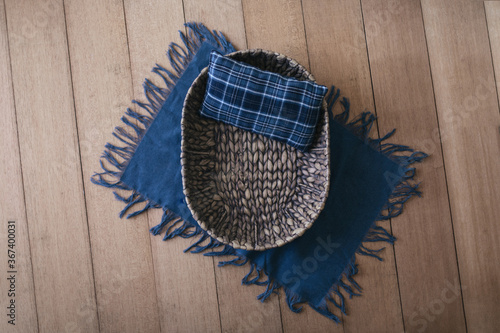 Newborn digital background -  brown woven bowl with blue plaid pillow and blue l Canvas Print