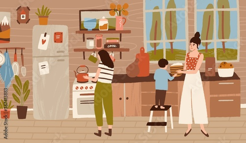 Obraz Happy family cooking dinner at kitchen together. Mother, daughter and child doing housework, household, preparing food, lunch. Home scene of daily routine, life. Flat vector cartoon illustration - fototapety do salonu