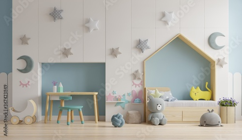 Obraz Mockup wall in the children's room on wall blue colors background. - fototapety do salonu