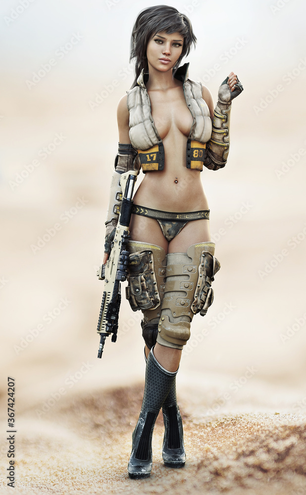 Fototapeta Portrait of a futuristic sci fi female soldier with short brown hair wearing sexy military attire with a rifle at her side. 3d rendering