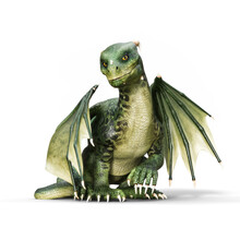 3d Illustration Of A Small Winged Baby Dragon Sitting On An Isolated White Background. 3d Rendering