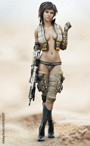 Obraz Portrait of a futuristic sci fi female soldier with short brown hair wearing sexy military attire with a rifle at her side. 3d rendering - fototapety do salonu