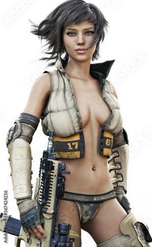 Fotografía Portrait of a futuristic sci fi female soldier with short brown hair wearing sexy military attire with a rifle at her side