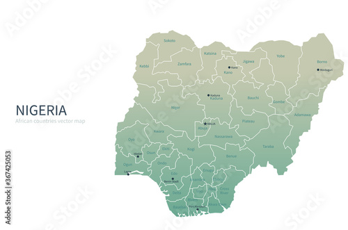 Fototapeta nigeria map. african countries vector map.