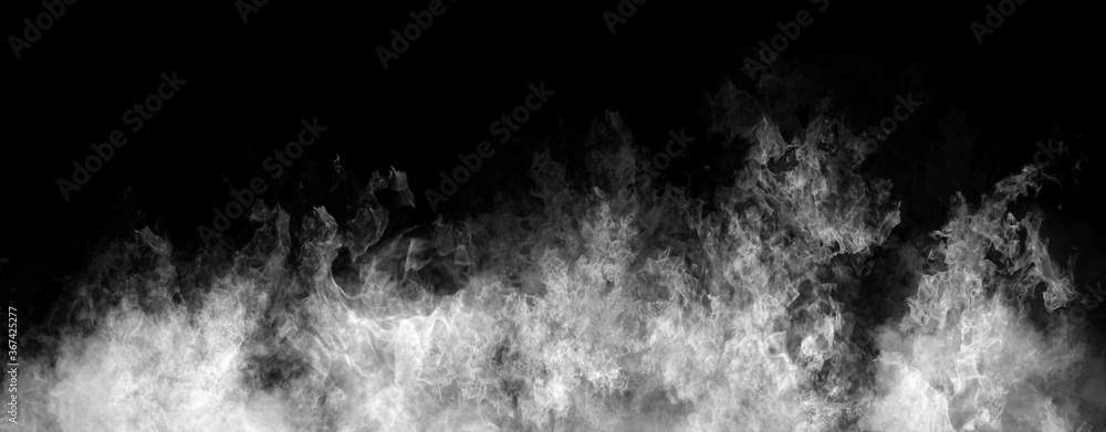 Fototapeta Panoramic view black and white fire on isolated background. Perfect explosion effect for decoration and covering on black background. Concept burn flame and light texture overlays.