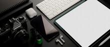 Digital Devices On Dark Table ...