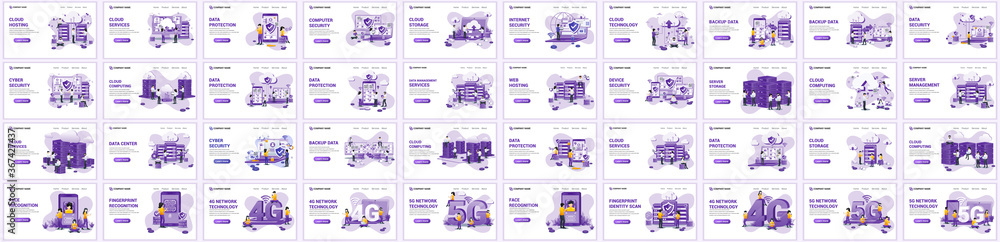 Fototapeta Big collection concept of cloud computing, digital storage,  flat vector illustration. Set of landing page design templates, can use for web banner, infographics, landing page, web template