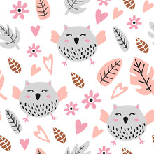 Seamless Pattern With Cute Owl.