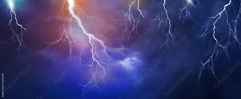 Fototapeta Lightning, thunder cloud dark cloudy sky