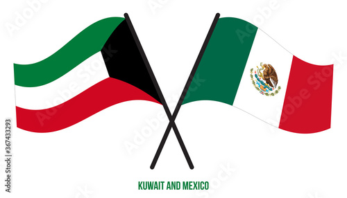 Kuwait and Mexico Flags Crossed And Waving Flat Style Fotobehang