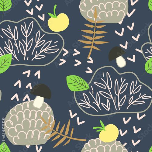 Fotografie, Tablou Seamless childish pattern with bushes, apples, mushrooms