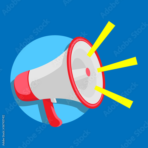 Photo megaphone for shouting product promotion announcement to customers