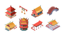 Chinese Ethnic Buildings Isometric Set. Asian Traditional Ancient Style Arch Bridge Multitier Temple Pagoda Japanese Ritual Gate Korean Noble Houses Oriental Structures. Vector Cartoon Isometric.