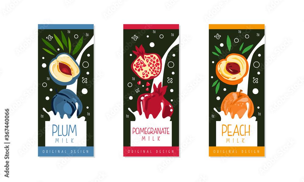 Fototapeta Fruit Milk Packaging Label Design Set, Plum, Pomegranate, Peach Natural Organic Fresh Healthy Dairy Products Cartoon Style Vector Illustration