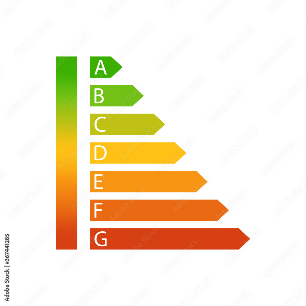 Fototapeta Energy efficiency rating icon. Vector illustration. EPS