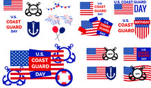 Coast Guard Birthday Day United States Flag Red Blue Poster