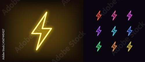 Foto Neon lightning flash icon