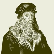 Vector Drawing Face Portrait Illustration For Leonardo Da Vinci In Sephia Tone