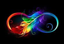Infinity With Rainbow Feather ...