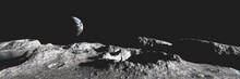 Moon Surface Panorama, Lunar Landscape, Earth Rise Above The Moon, 3d Rendering