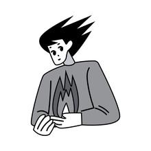 Manga Man Character Drawing With Flying Hair And Hot Heart