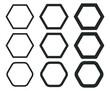 Hexagonal outline shape icon. Hexagon silhouette logo sign. Vector illustration image. Isolated on white background.