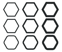 Hexagonal Outline Shape Icon. ...