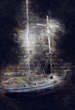 Sailing Boats Stowed At The Pier, Harbor Art Illustration Vintage Retro