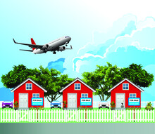 Row Of Detached Residential Homes For Sale Due To Noise Levels From Low Flying Commercial Aircraft From A Nearby Airport Set Against A Blue Cloudy Sky