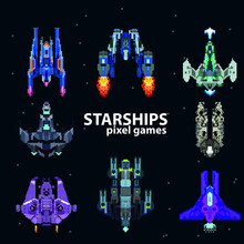Set Of Starships From Pixels, ...