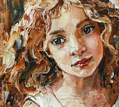 Fototapety, obrazy: Smiley little girl with curly hair. Created in the expressive manner, palette knife technique of oil painting and brush.