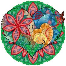 Sketchy Doodle Heart Illustration With Mandala. Decoratice Object