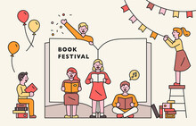Book Festival Poster. People A...