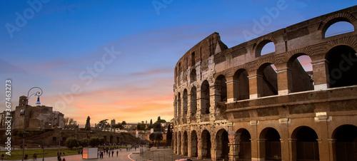Vászonkép Panoramic of Coliseum or Flavian Amphitheatre (Amphitheatrum Flavium or Colosseo), Rome, Italy