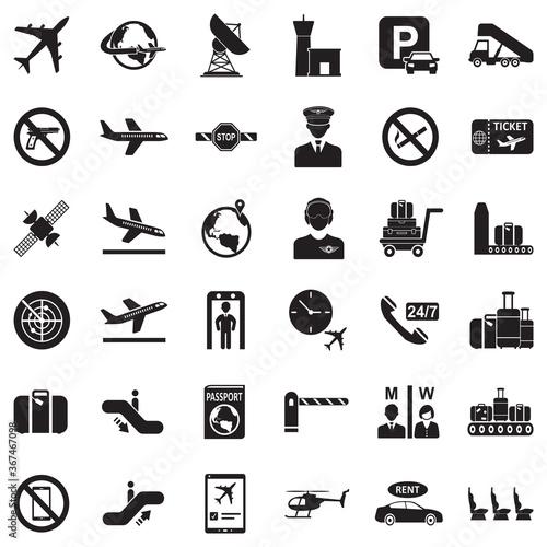 Fototapeta Airport Icons. Black Flat Design. Vector Illustration. obraz na płótnie