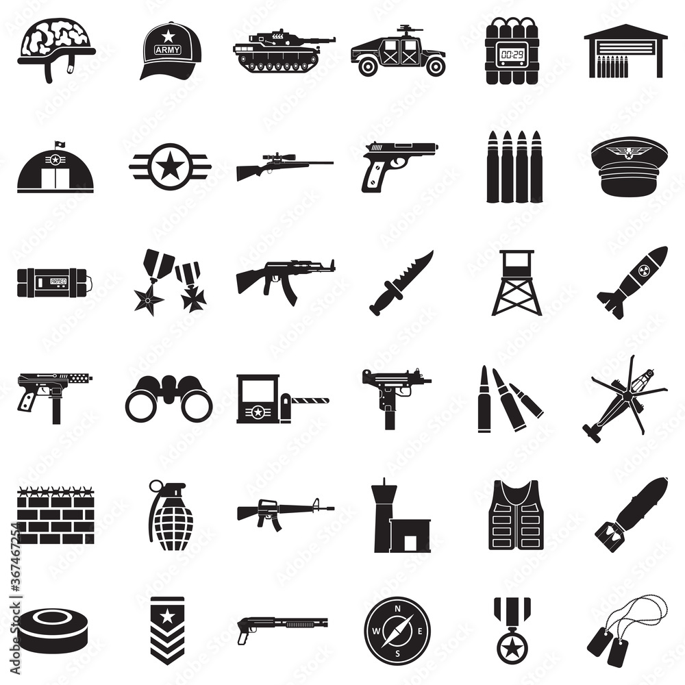 Army Icons. Black Flat Design. Vector Illustration.