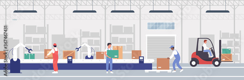 Fotografía Warehouse packaging process automation vector illustration