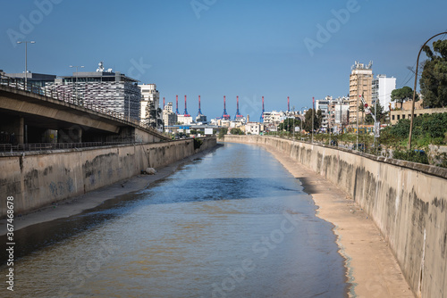 Fotografering Beirut River separated capital of Lebanon and Sin el Fil city, suburbs of Beirut