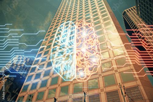 Fototapeta Brain hologram drawing on city scape background Double exposure. Brainstorming concept.
