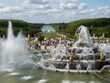 Versailles, France, the palace of Versailles with a beautiful garden in front of facade with a lot of fountains and statues