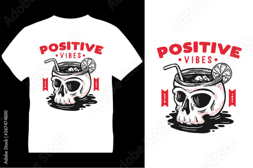 Fotografering positive vibes t-shirt design template