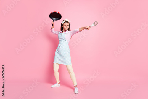 Full size photo of strong chef woman hold frying pan spatula attack enemies wear Tapéta, Fotótapéta