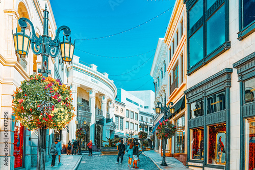View of the fashionable street Rodeo Drive in Hollywood, LA. Canvas Print
