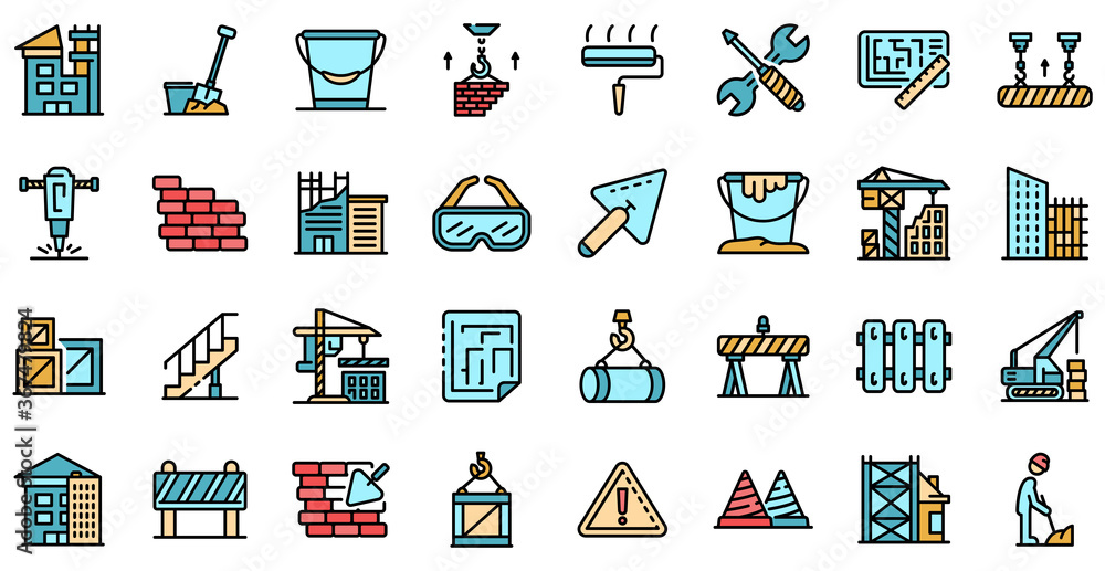 Fototapeta Building reconstruction icons set. Outline set of building reconstruction vector icons thin line color flat on white