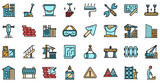 Building reconstruction icons set. Outline set of building reconstruction vector icons thin line color flat on white