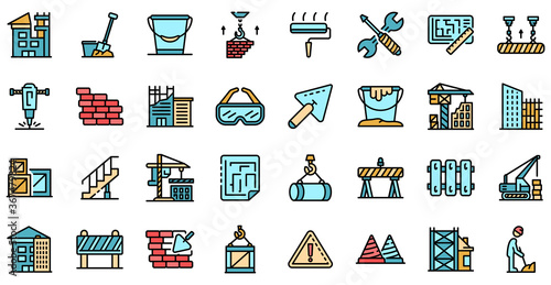 Obraz Building reconstruction icons set. Outline set of building reconstruction vector icons thin line color flat on white - fototapety do salonu